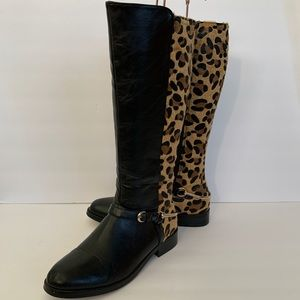 Wanted Stampede Knee High Leopard Riding Boots